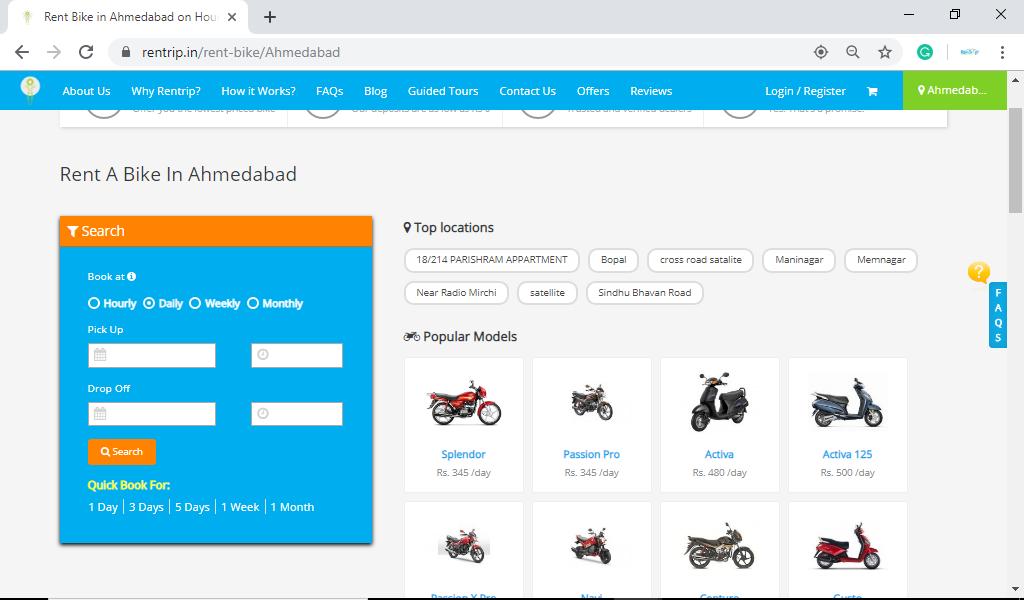 Rent a Bike in Ahmedabad